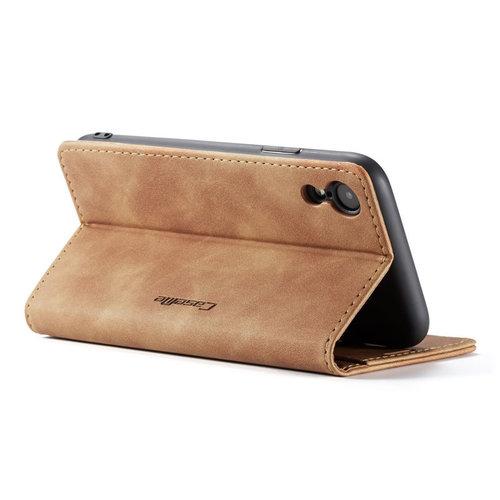 CaseMe CaseMe - iPhone XR hoesje - Wallet Book Case - Magneetsluiting - Licht Bruin