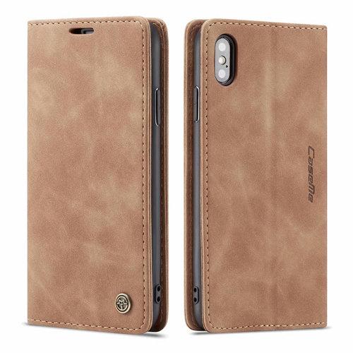 CaseMe CaseMe - iPhone Xs Max hoesje - Wallet Book Case - Magneetsluiting - Licht Bruin