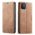 CaseMe CaseMe - iPhone 11 hoesje - Wallet Book Case - Magneetsluiting - Licht Bruin