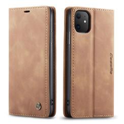 CaseMe - iPhone 11 hoesje - Wallet Book Case - Magneetsluiting - Licht Bruin