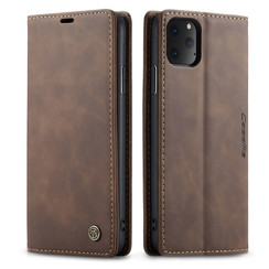 CaseMe - iPhone 11 Pro hoesje - Wallet Book Case - Magneetsluiting - Donker Bruin