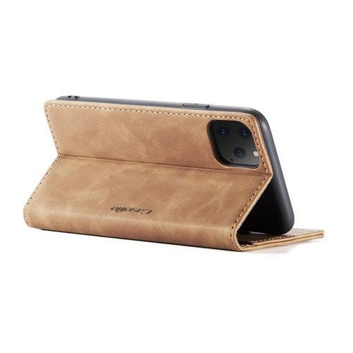 CaseMe CaseMe - iPhone 11 Pro hoesje - Wallet Book Case - Magneetsluiting - Licht Bruin