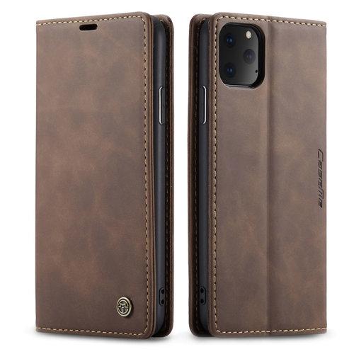 CaseMe CaseMe - iPhone 11 Pro Max hoesje - Wallet Book Case - Magneetsluiting - Donker Bruin