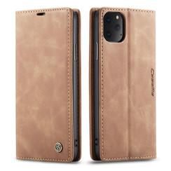 CaseMe - iPhone 11 Pro Max hoesje - Wallet Book Case - Magneetsluiting - Licht Bruin