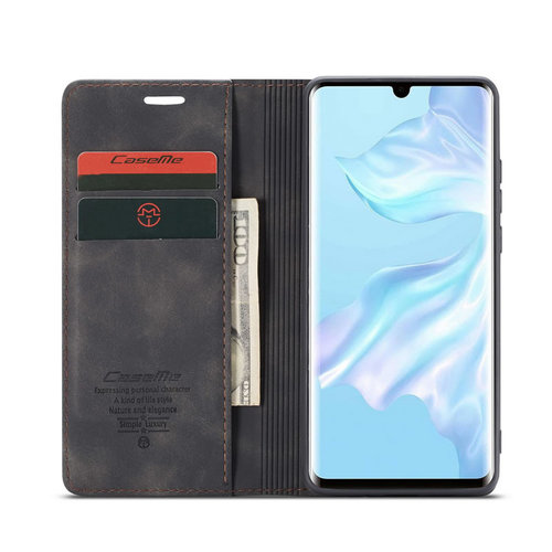 CaseMe CaseMe - Huawei P30 hoesje - Wallet Book Case - Magneetsluiting - Zwart