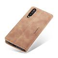 CaseMe CaseMe - Huawei P30 hoesje - Wallet Book Case - Magneetsluiting - Licht Bruin
