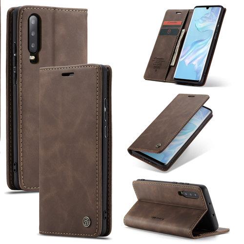 CaseMe CaseMe - Huawei P30 hoesje - Wallet Book Case - Magneetsluiting - Donker Bruin
