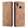 CaseMe CaseMe - Huawei P Smart (2019) hoesje - Wallet Book Case - Magneetsluiting - Licht Bruin