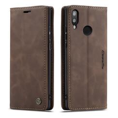 CaseMe - Huawei P Smart (2019) hoesje - Wallet Book Case - Magneetsluiting - Donker Bruin