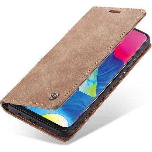 CaseMe CaseMe - Samsung Galaxy A10 hoesje - Wallet Book Case - Magneetsluiting - Licht Bruin