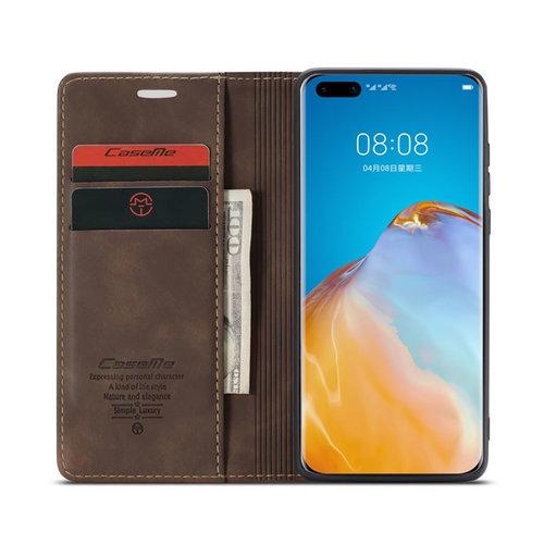 CaseMe CaseMe - Huawei P40 hoesje - Wallet Book Case - Magneetsluiting - Donker Bruin