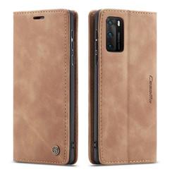 CaseMe - Huawei P40 hoesje - Wallet Book Case - Magneetsluiting - Licht Bruin