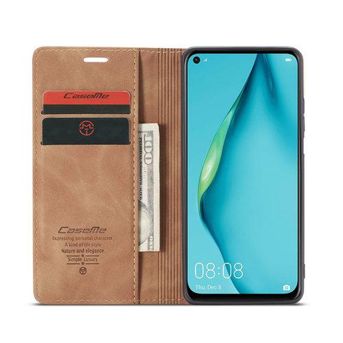 CaseMe CaseMe - Huawei P40 Lite hoesje - Wallet Book Case - Magneetsluiting - Licht Bruin