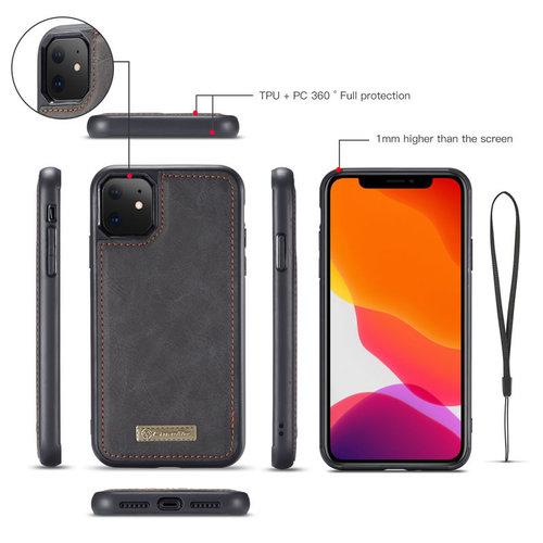 CaseMe CaseMe - iPhone 11 hoesje - Wallet Book Case met Ritssluiting - Zwart
