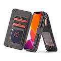 CaseMe CaseMe - iPhone 11 Pro hoesje - Wallet Book Case met Ritssluiting - Zwart