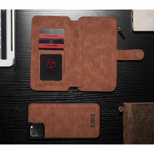 CaseMe CaseMe - iPhone 11 Pro hoesje - Wallet Book Case met Ritssluiting - Bruin