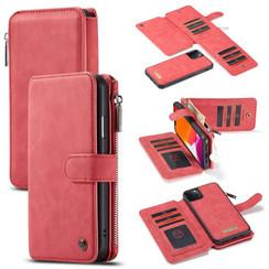 CaseMe - iPhone 11 Pro hoesje - Wallet Book Case met Ritssluiting - Rood