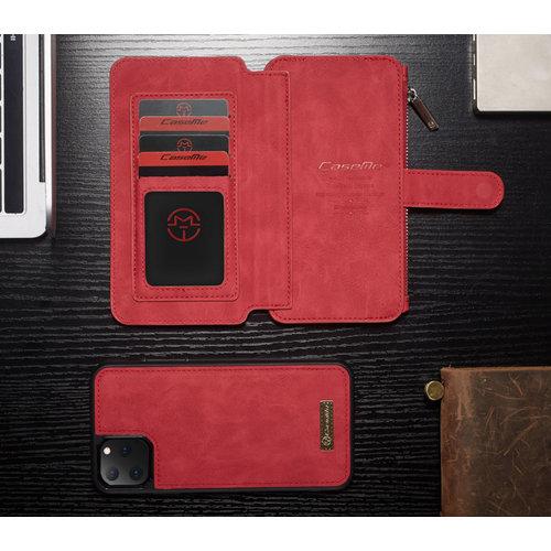 CaseMe CaseMe - iPhone 11 Pro hoesje - Wallet Book Case met Ritssluiting - Rood