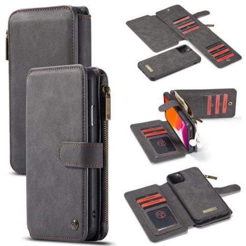 CaseMe CaseMe - iPhone 11 Pro Max hoesje - Wallet Book Case met Ritssluiting - Zwart