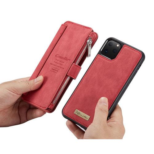 CaseMe CaseMe - iPhone 11 Pro Max hoesje - Wallet Book Case met Ritssluiting - Rood
