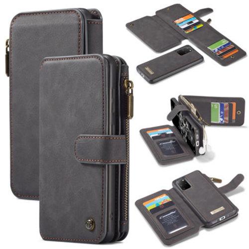 CaseMe CaseMe - Samsung Galaxy S20 Plus hoesje - Wallet Book Case met Ritssluiting - Zwart