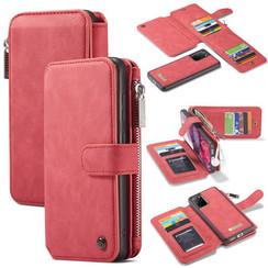 CaseMe - Samsung Galaxy S20 Plus hoesje - Wallet Book Case met Ritssluiting - Rood