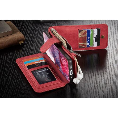 CaseMe CaseMe - Samsung Galaxy S20 Plus hoesje - Wallet Book Case met Ritssluiting - Rood