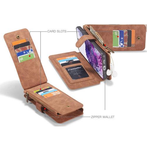 CaseMe CaseMe - Samsung Galaxy S20 Ultra hoesje - Wallet Book Case met Ritssluiting - Bruin