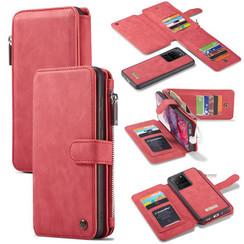 CaseMe - Samsung Galaxy S20 Ultra hoesje - Wallet Book Case met Ritssluiting - Rood