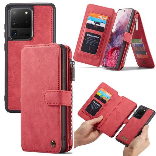 CaseMe CaseMe - Samsung Galaxy S20 Ultra hoesje - Wallet Book Case met Ritssluiting - Rood