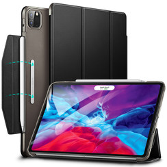 iPad Pro 12.9 (2020) hoes - Yippee Tri-fold - Slim Fit Smart Stand Case - Zwart