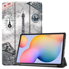 Samsung Galaxy Tab S6 Lite hoes  - Tri-Fold Book Case - Eiffeltoren