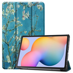 Samsung Galaxy Tab S6 Lite hoes  - Tri-Fold Book Case - Witte Bloesem