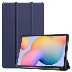 Samsung Galaxy Tab S6 Lite hoes  - Tri-Fold Book Case - Donker Blauw