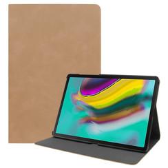 Samsung Galaxy Tab S5e hoes - PU Leer Folio Book Case - Licht Bruin
