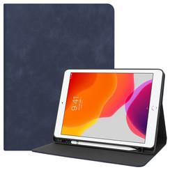 iPad 10.2 inch (2019) hoes - PU Leer Folio Book Case - Donker Blauw