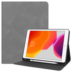 iPad 10.2 inch (2019) hoes - PU Leer Folio Book Case - Grijs