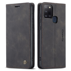 CaseMe - Case for Samsung Galaxy A21s - PU Leather Wallet Case Card Slot Kickstand Magnetic Closure - Black