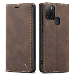 CaseMe - Case for Samsung Galaxy A21s - PU Leather Wallet Case Card Slot Kickstand Magnetic Closure - Coffee Brown