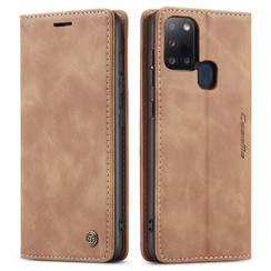 CaseMe - Case for Samsung Galaxy A21s - PU Leather Wallet Case Card Slot Kickstand Magnetic Closure - Brown