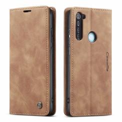 CaseMe - Xiaomi Redmi Note 8 hoesje - Wallet Book Case - Magneetsluiting - Licht Bruin