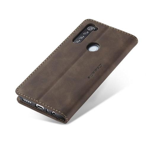 CaseMe CaseMe - Xiaomi Redmi Note 8 hoesje - Wallet Book Case - Magneetsluiting - Donker Bruin