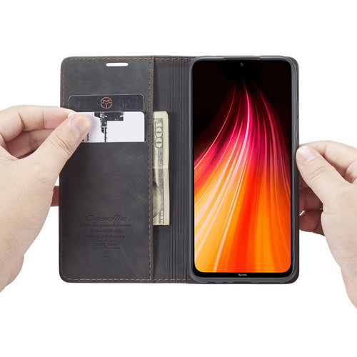 CaseMe CaseMe - Xiaomi Redmi Note 8 hoesje - Wallet Book Case - Magneetsluiting - Zwart