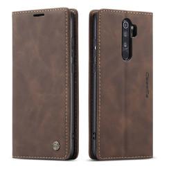 CaseMe - Xiaomi Redmi Note 8 Pro hoesje - Wallet Book Case - Magneetsluiting - Donker Bruin