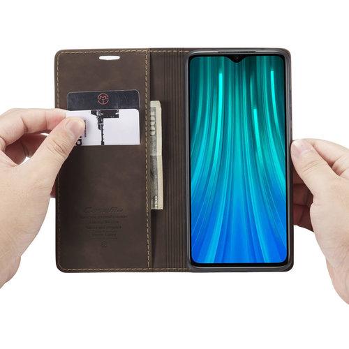 CaseMe CaseMe - Xiaomi Redmi Note 8 Pro hoesje - Wallet Book Case - Magneetsluiting - Donker Bruin