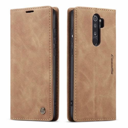 CaseMe CaseMe - Xiaomi Redmi Note 8 Pro hoesje - Wallet Book Case - Magneetsluiting - Licht Bruin