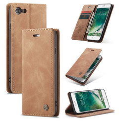 CaseMe - Case for iPhone 7/8/SE 2020 - PU Leather Wallet Case Card Slot Kickstand Magnetic Closure - Braun