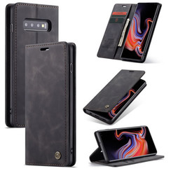 CaseMe - Case for Samsung Galaxy S10 5G - PU Leather Wallet Case Card Slot Kickstand Magnetic Closure - Black