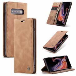 CaseMe - Case for Samsung Galaxy S10 5G - PU Leather Wallet Case Card Slot Kickstand Magnetic Closure - Braun