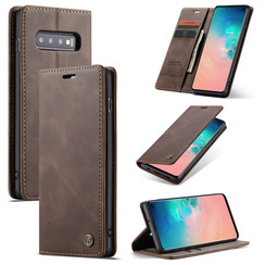 CaseMe - Case for Samsung Galaxy S10 5G - PU Leather Wallet Case Card Slot Kickstand Magnetic Closure - Coffee Brown